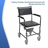 Folding, Portable, Upholstered Commode