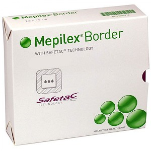 Thin Silicone Foam Dressing Mepilex® Border Lite 4 X 4 Inch Square Silicone Adhesive with Border Sterile